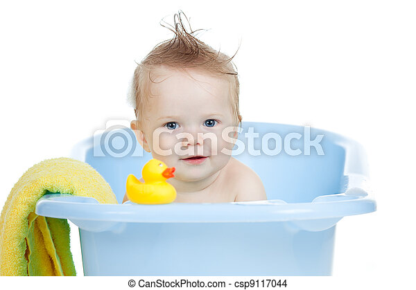 adorable baby having bath in blue tub - csp9117044