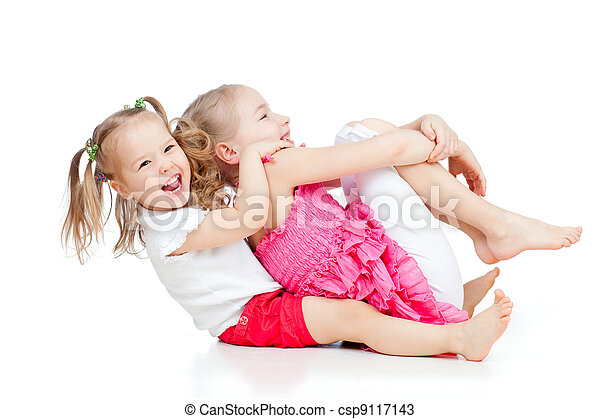 adorable children having funny good pastime - csp9117143