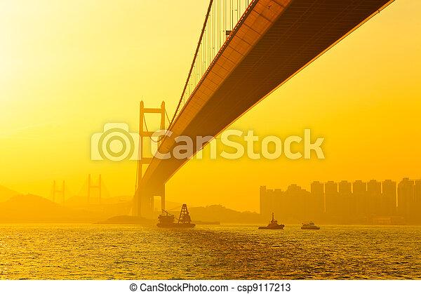 tsing ma bridge in sunset - csp9117213