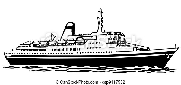 Ilustra o vetorial de cruzeiro navio cruise navio mar - Paquebot dessin ...