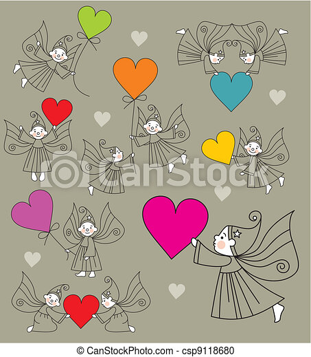 set vector elves with hearts - csp9118680