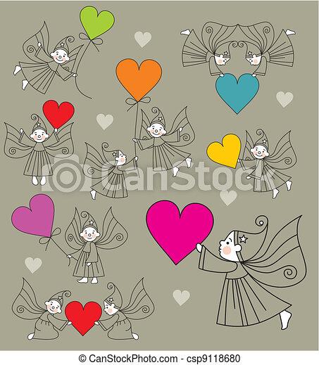 set vector elves with hearts - csp9118680