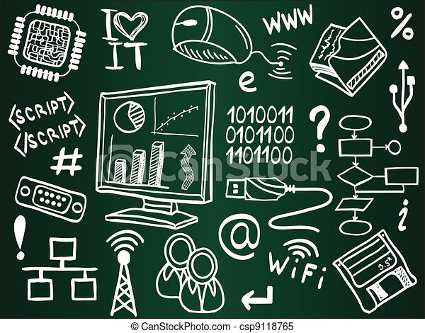 Information technology and internet sketch icons on school board - csp9118765