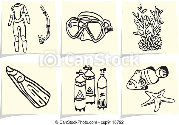 Diving equipment and sea life on yellow memo sticks - csp9118792