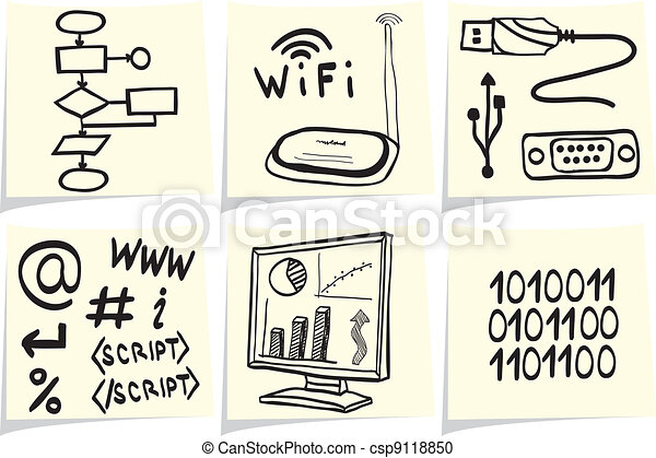 Information technology and internet sketch icons on yellow memo sticks - csp9118850