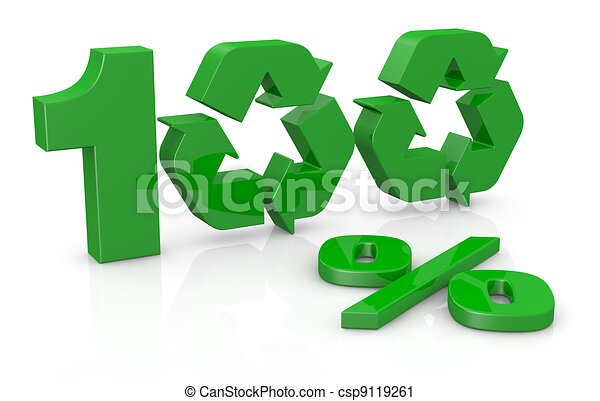 Clipart of 100 percent recycling concept - the number 100 with the ...