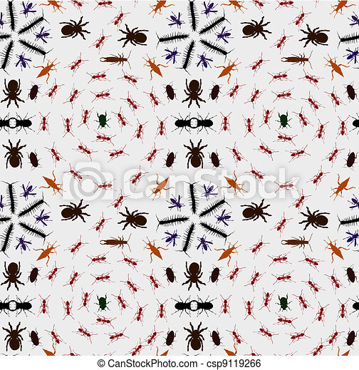 Seamless Creepy Crawlies Background - csp9119266