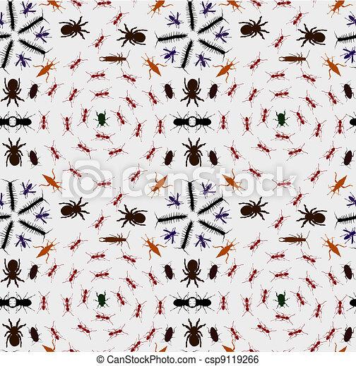 Seamless Creepy Crawlies Background - csp9119266