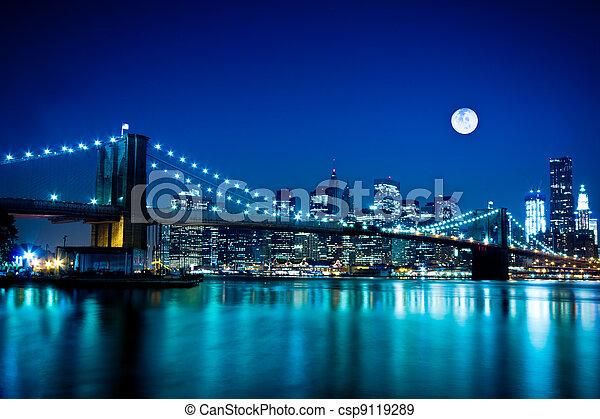ponte,  brooklyn, cidade,  York, Novo - csp9119289