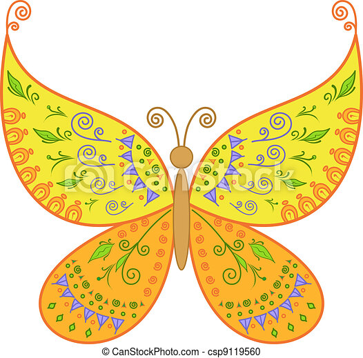 Butterfly with floral pattern - csp9119560