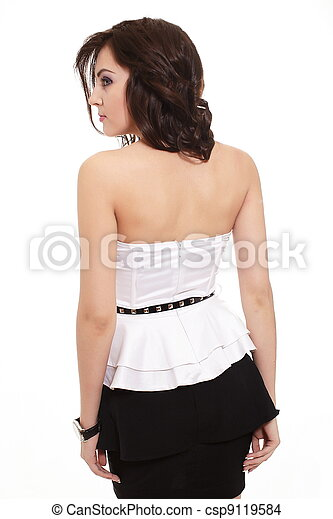 back of Young beautiful sexy brunette smiling stylish woman isolated on white - csp9119584