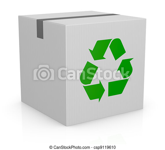 carton box and recycling symbol - csp9119610