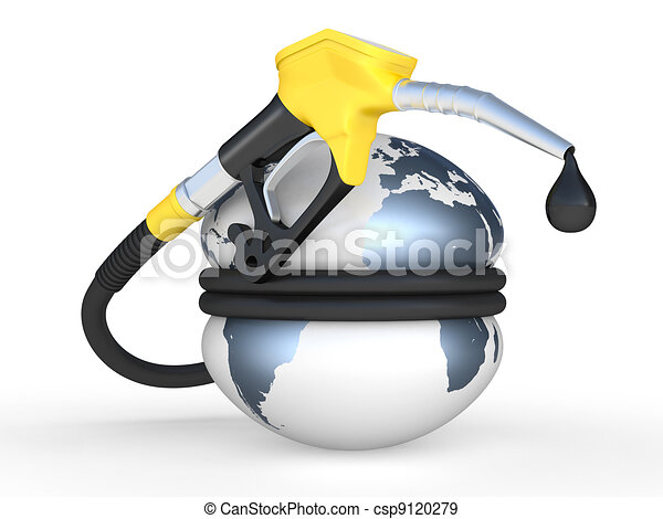 Stock Illustration of Earth squeezed and fuel pump nozzle ...