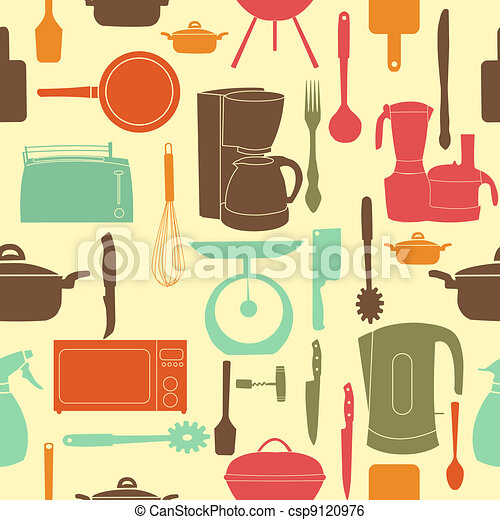 vector illustration seamless pattern of kitchen tools for cooking - csp9120976