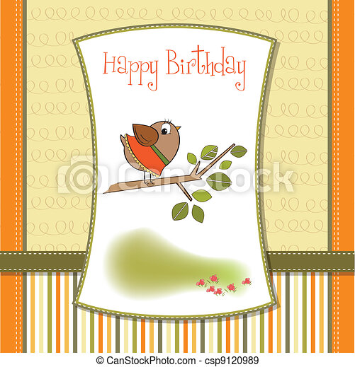 welcome baby card with funny little - csp9120989