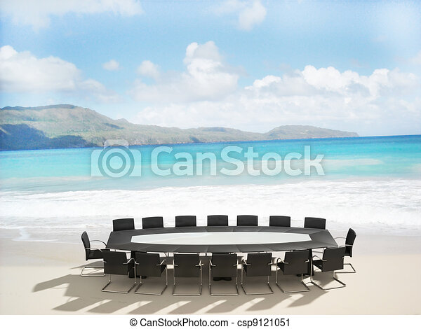 3D rendering of a Meeting table and chairs in the water of a Caribbean beach - csp9121051