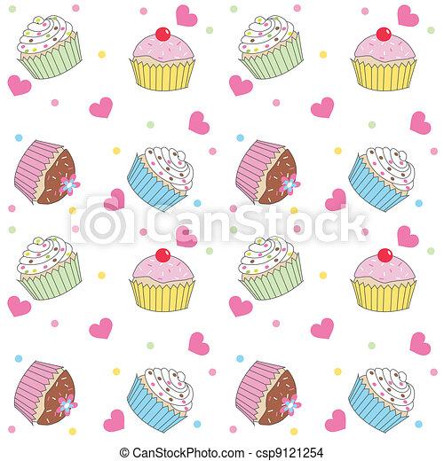 seamless cupcake pattern - csp9121254
