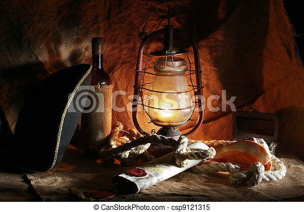 Pirate of the still life of wine, hats, ropes, sinks, fixtures, maps - csp9121315