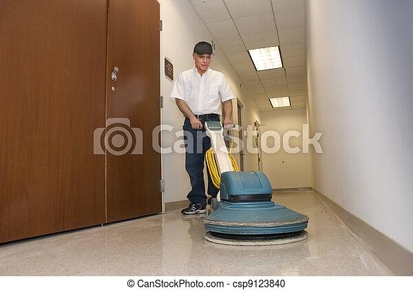 Polishing hallway floor - csp9123840