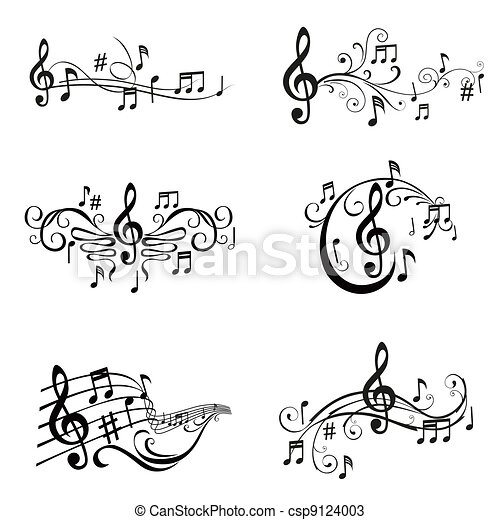 Set of Musical Notes Illustration - in vector - csp9124003