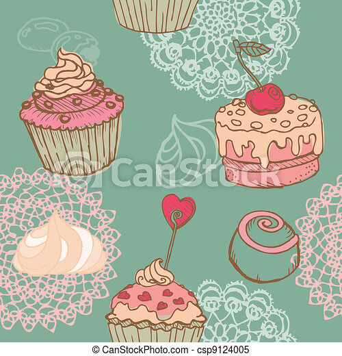 Seamless Background with Cakes, Sweets and Desserts - in vector - csp9124005