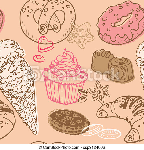 Seamless Background with Cakes, Sweets and Desserts - in vector - csp9124006