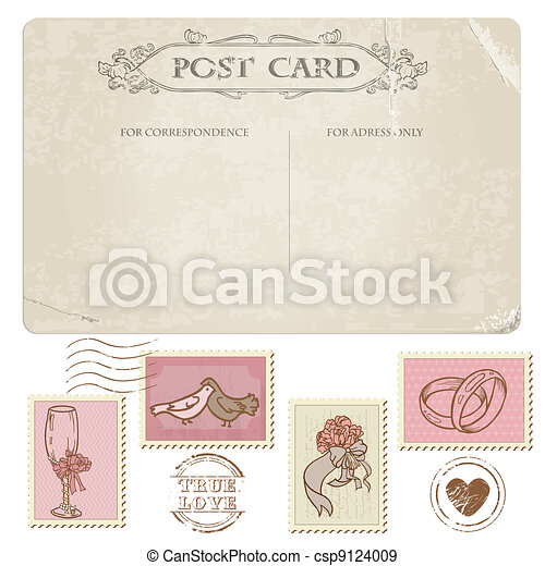 Vintage Postcard and Postage Stamps - for wedding design, invitation, congratulation, scrapbook - csp9124009