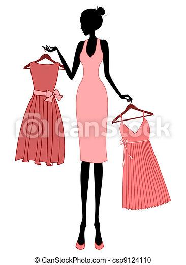 Clipart Vecteur De Achats Robe Illustration De A Jeune 233 L 233 Gant Femme Csp9124110