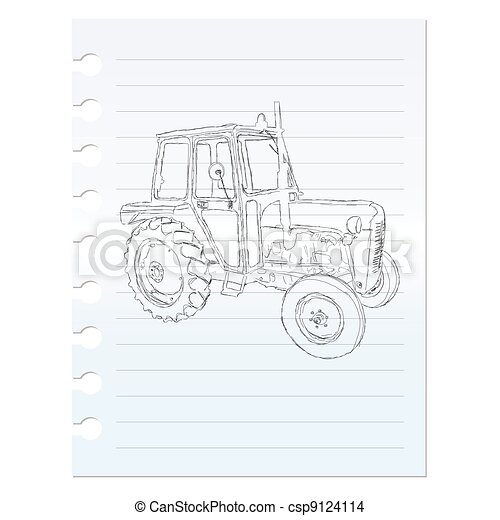 tractor clip art on paper - csp9124114