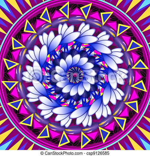 Mandala Round Ornament Pattern Floral Drawing - csp9126585