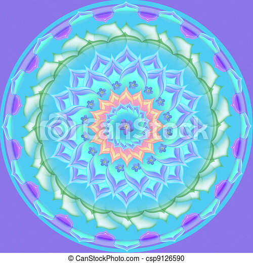 Mandala Round Ornament Pattern Floral Drawing - csp9126590