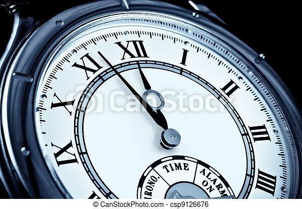 Clock face, watch closeup - csp9126676
