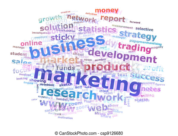 Business Marketing Word Cloud Advertising Concept - csp9126680