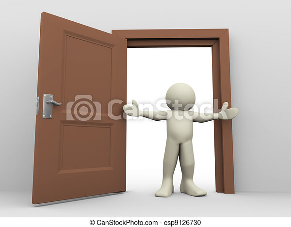 3d man and open door - csp9126730