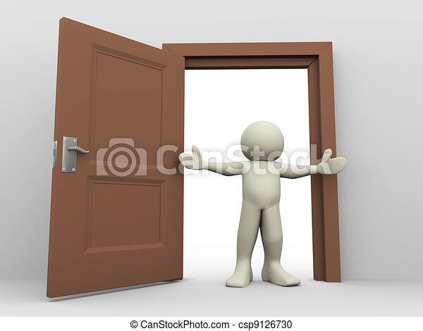 3d man and open door - csp9126730