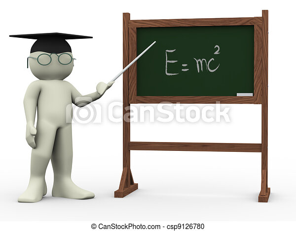3d teacher and einsteins theory - csp9126780