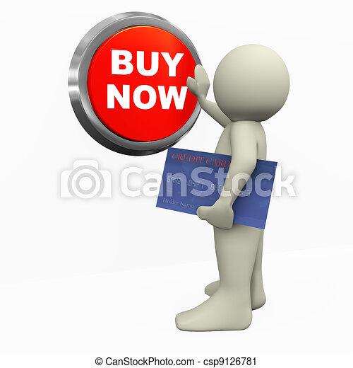 3d man pushing buy now button - csp9126781