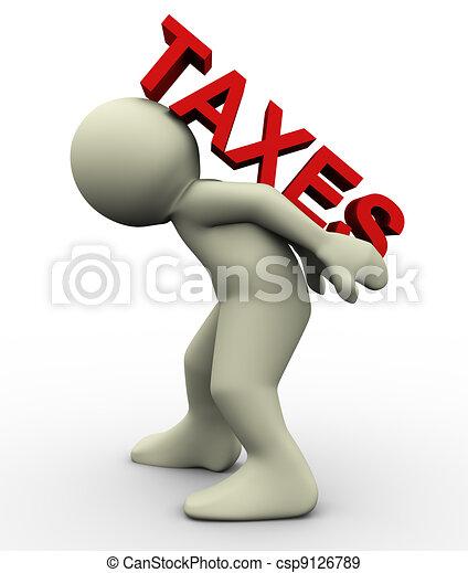 3d man carrying taxes - csp9126789