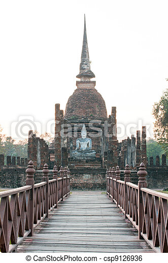 Wat Sa Si and old wood stair - csp9126936