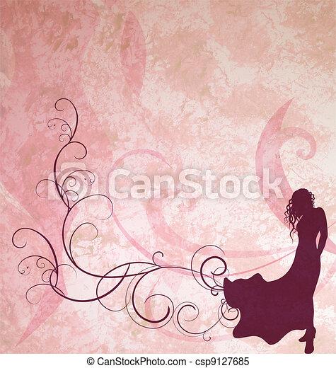 dark brown fashion girl silhouette on light pink grunge background - csp9127685