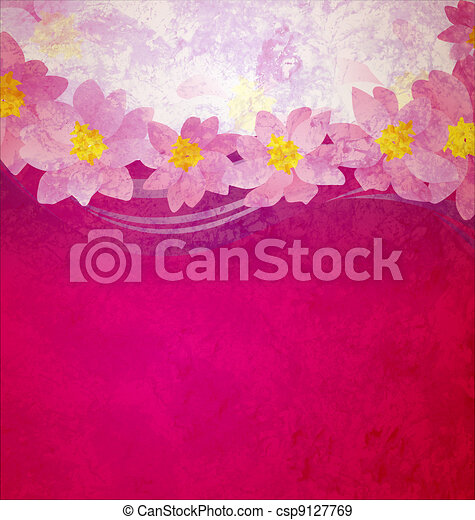 colorful grunge pink magenta and violet background with fantasy pink and yellow flowers - csp9127769
