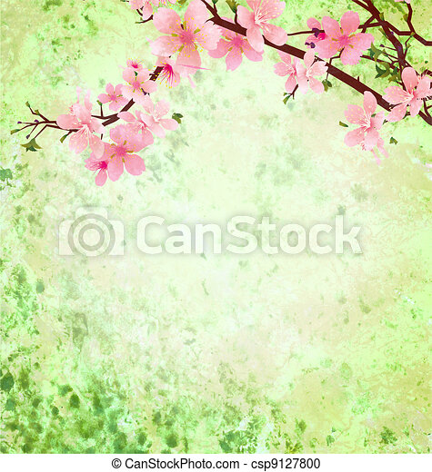 pink cherry blossom branch on green grunge background easter illustration idea - csp9127800