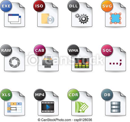 web, iconen, formaten,  -, bestand,  6 - csp9128036