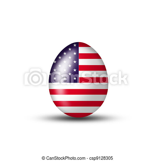 Egg with American flag - csp9128305