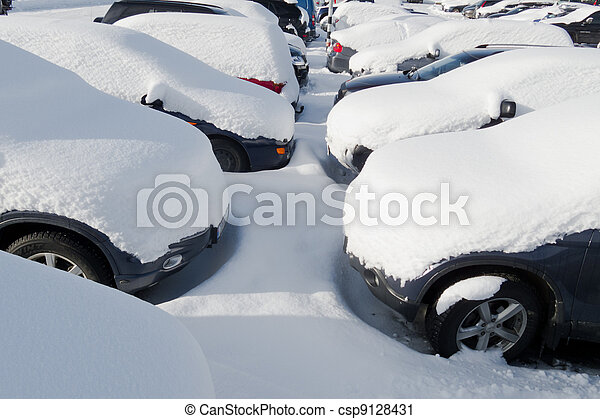 Cars covered in snow - csp9128431