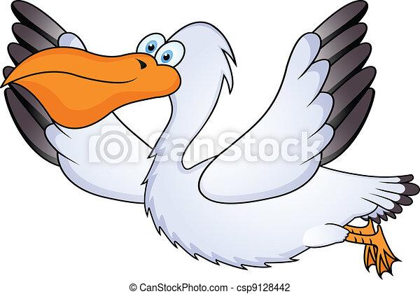 pelican in flight - csp9128442