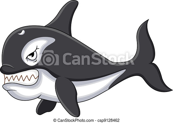 killer whale cartoon - csp9128462