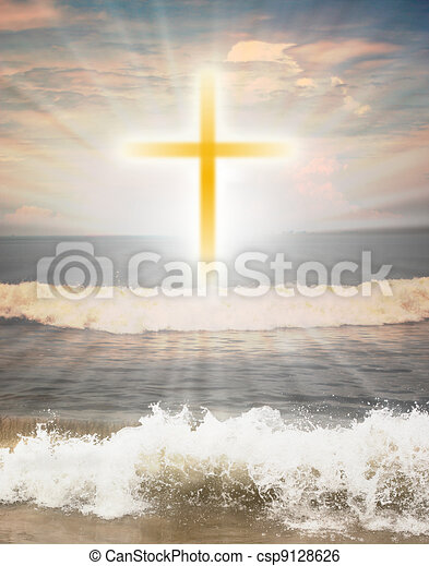 Christian religious symbol cross against sun shine - csp9128626