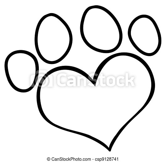 Outlined Love Paw Print - csp9128741