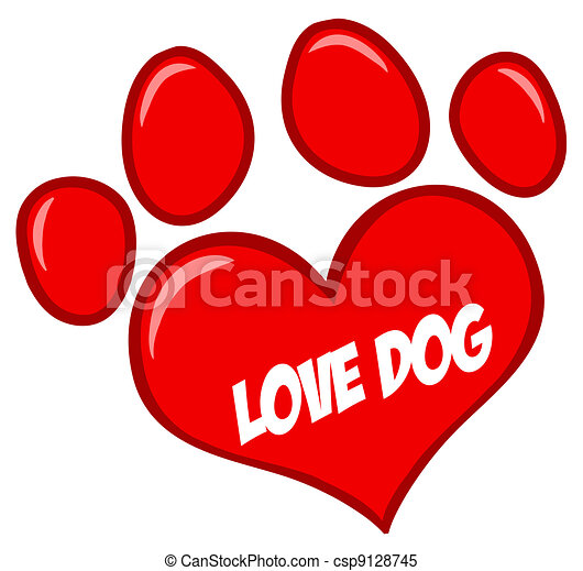 Love Paw Print With Text - csp9128745